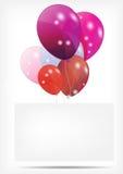 Cartão do presente com ilustração do vetor dos balões Imagens de Stock Royalty Free