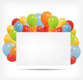 Cartão do presente com ilustração do vetor dos balões Imagem de Stock