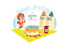 Cartão do presente de aniversário Fotos de Stock