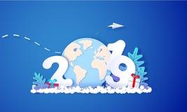 Cartão do projeto do ano 2019 novo no fundo azul ilustração stock