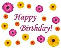 Cartão do projeto da flor do feliz aniversario Foto de Stock Royalty Free