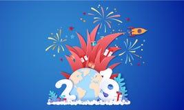 Cartão do projeto da venda do ano novo com fogos de artifício ilustração do vetor