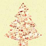 Cartão do quadrado da árvore de Natal ilustração do vetor