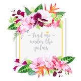 Cartão do quadrado do projeto do vetor da forma com flores tropicais Imagem de Stock Royalty Free