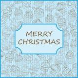 Cartão do queque do Natal Imagens de Stock