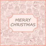 Cartão do queque do Natal Fotos de Stock