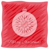 Cartão do ` s do Natal ou do ano novo Logotipo do vetor, projeto do emblema Listras vermelhas brilhantes pintadas descuidadamente ilustração do vetor