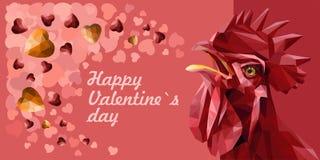 Cartão do ` s do Valentim com galo vermelho e corações vermelhos, amarelos de pedras preciosas ilustração do vetor