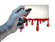 Cartão do sangue do zombi ilustração stock