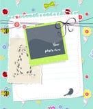 Cartão do scrapbook do bebê do vetor com frame da foto Fotografia de Stock Royalty Free