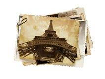 Cartão do sepia do vintage da torre Eiffel fotografia de stock