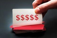 Cartão do sinal de dólar Foto de Stock