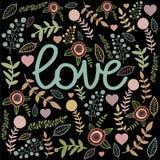 Cartão do sinal do amor na gota preta Mão colorida da natureza Foto de Stock Royalty Free