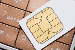 Cartão do telemóvel e do sim Foto de Stock