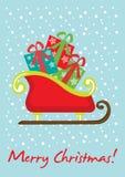 Cartão do trenó do Natal Ilustração Royalty Free