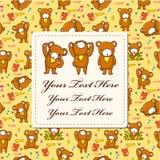 Cartão do urso dos desenhos animados Imagens de Stock Royalty Free