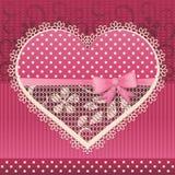 Cartão do Valentim com coração do laço Fotos de Stock Royalty Free