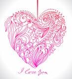 Cartão do Valentim com coração floral ilustração do vetor