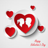 Cartão do Valentim com corações e os amantes vermelhos Foto de Stock