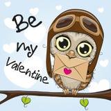 Cartão do Valentim com a coruja bonito dos desenhos animados Fotografia de Stock Royalty Free