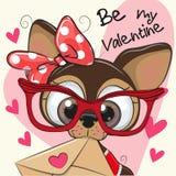 Cartão do Valentim com o cachorrinho bonito dos desenhos animados ilustração do vetor