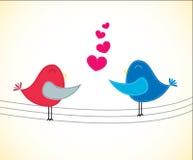 Cartão do Valentim com pássaros Fotografia de Stock