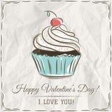 Cartão do Valentim com queque e texto dos desejos Fotografia de Stock Royalty Free