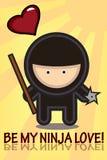 Cartão do Valentim de Ninja Imagem de Stock Royalty Free