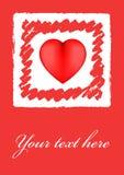 Cartão do Valentim do coração de Grunge Fotografia de Stock Royalty Free