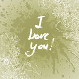 Cartão do Valentim do Grunge com texto tirado mão Fotos de Stock