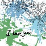 Cartão do Valentim do Grunge com texto tirado mão Foto de Stock Royalty Free