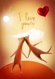 Cartão do Valentim. Gatos felizes com coração-balão Foto de Stock Royalty Free