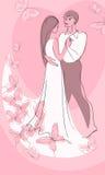 Cartão do Valentim. menino e menina ilustração royalty free
