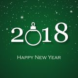 Cartão do verde do ano 2018 novo feliz Foto de Stock