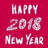 Cartão do vetor do ano novo feliz 2018 com frase escrita à mão da caligrafia do estilo funky Imagens de Stock Royalty Free