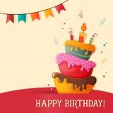 Cartão do vetor do bolo de aniversário com bolo ilustração royalty free