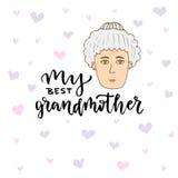 Cartão do vetor Cara da mulher da garatuja do alvorecer da mão com rotulação de minha melhor avó Foto de Stock