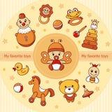 Cartão do vetor com ícones coloridos do bebê ilustração royalty free