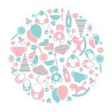 Cartão do vetor com ícones coloridos do bebê Ícones do bebê ajustados, Miúdos Fotos de Stock Royalty Free