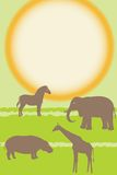 Cartão do vetor com animais africanos Foto de Stock Royalty Free