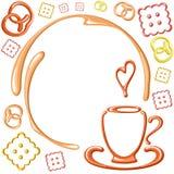 Cartão do vetor com copo e cookies Imagem de Stock