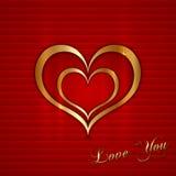 Cartão do vetor com corações Imagens de Stock Royalty Free