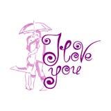 Cartão do vetor com corações e caligrafia à moda Imagem de Stock Royalty Free