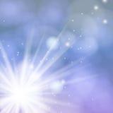 Cartão do vetor com luzes e neve de Chrismas Fotografia de Stock Royalty Free