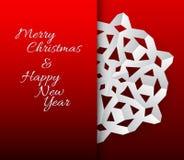 Cartão do vetor com o floco de neve do Natal do Livro Branco Imagens de Stock