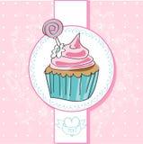 Cartão do vetor com queque colorido Fotografia de Stock Royalty Free
