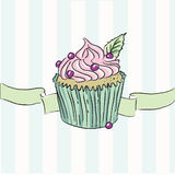 Cartão do vetor com queque colorido Imagem de Stock Royalty Free