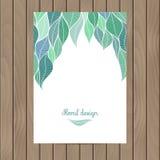 Cartão do vetor com a textura das folhas Fotografia de Stock Royalty Free
