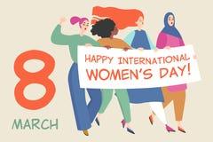 Cartão do vetor com um grupo de mulheres que guardam uma bandeira grande com felicitações ao dia das mulheres internacionais ilustração stock