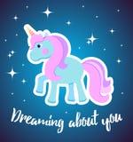 Cartão do vetor com unicórnio bonito Cartaz da mágica goodnight, cartão Foto de Stock
